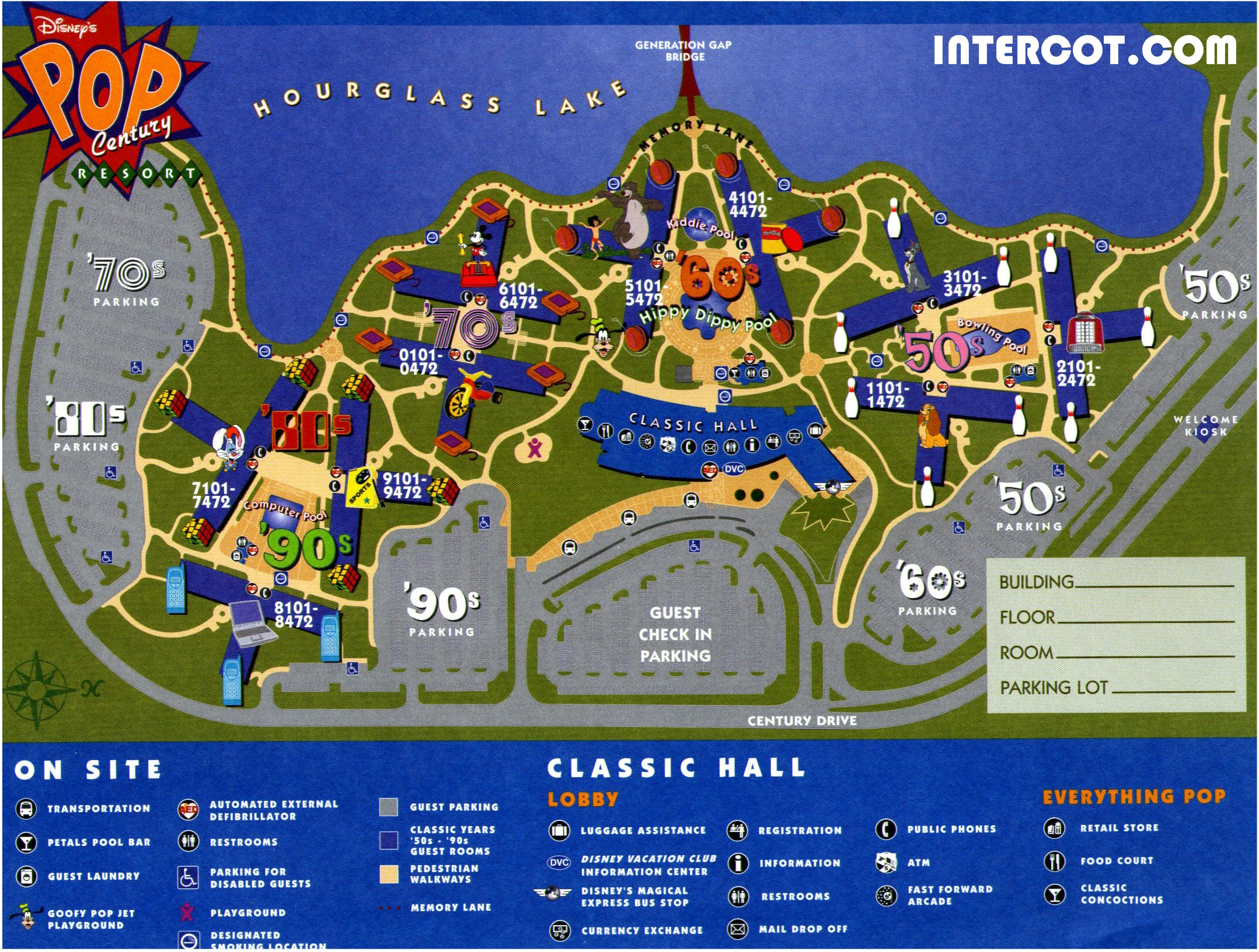 Pop Century Resort Map Walt Disney World   Disney World Vacation Information Guide  Pop Century Resort Map